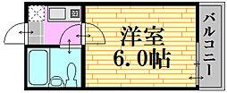 広島電鉄9系統 白島駅 徒歩23分の賃貸アパート 2階1Kの間取り