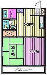 ロキシーパンセ中浦和[2階]の間取り