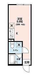 東京都八王子市明神町4丁目の賃貸アパートの間取り