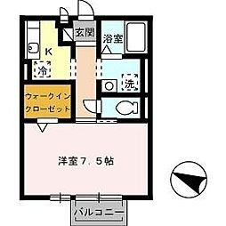 JR因美線 津ノ井駅 バス5分 若葉台南1丁目下車 徒歩4分の賃貸アパート 2階1Kの間取り