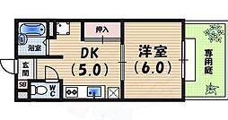 阪急神戸本線 夙川駅 徒歩20分の賃貸アパート 1階1DKの間取り