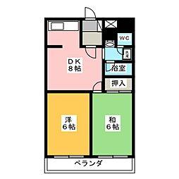 レスカール松原[4階]の間取り