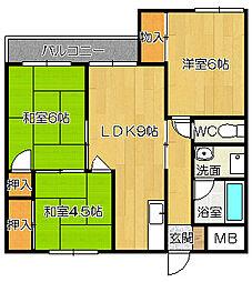 ガーデンハイツ八木[3階]の間取り