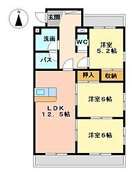 カーサしのはら丸米[3階]の間取り