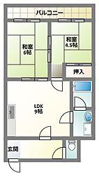 京阪本線 大和田駅 徒歩20分の賃貸マンション 5階2LDKの間取り