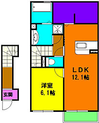 静岡県磐田市上岡田の賃貸アパートの間取り