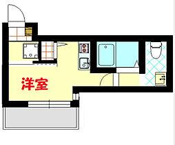 フラット横浜大口 1階ワンルームの間取り