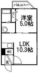 ピュアM豊平[402号室]の間取り