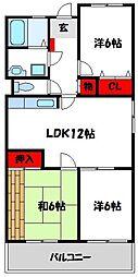 福岡県宗像市田熊2丁目の賃貸マンションの間取り