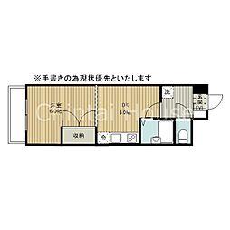 オクタワーズ野幌ウエストタワー 5階1DKの間取り