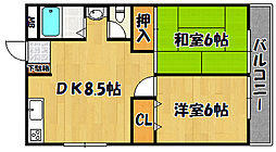 JR山陽本線 西明石駅 徒歩12分の賃貸マンション 4階2LDKの間取り