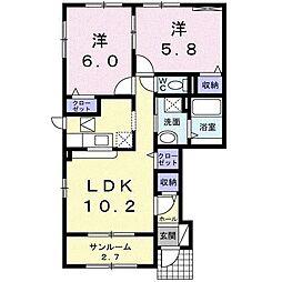富山県富山市四方字茶園の賃貸アパートの間取り