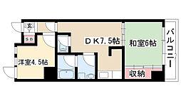 愛知県名古屋市瑞穂区宝田町6の賃貸マンションの間取り