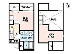 名鉄河和線 知多半田駅 徒歩4分の賃貸アパート 2階1SKの間取り