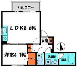 守口駅前レジデンス 1階1LDKの間取り