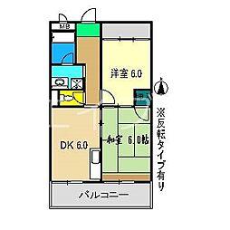 高須グランドハイツ[6階]の間取り
