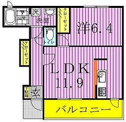千葉県柏市塚崎の賃貸アパートの間取り