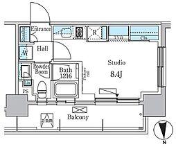 東急東横線 学芸大学駅 徒歩11分の賃貸マンション 2階ワンルームの間取り