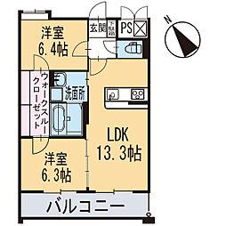新築東大友町マンション[102号室]の間取り
