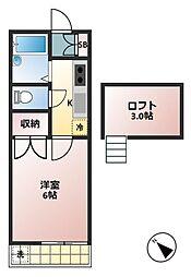 東京都調布市菊野台2の賃貸アパートの間取り