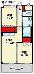 さくら館 1階2LDKの間取り