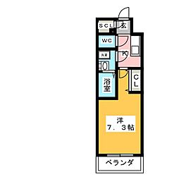 S-RESIDENCE浄心 4階1Kの間取り