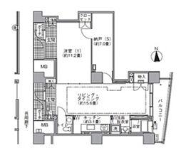 都営大江戸線 汐留駅 徒歩4分の賃貸マンション 43階1SLDKの間取り