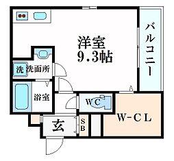 阪急神戸本線 西宮北口駅 徒歩4分の賃貸アパート 3階ワンルームの間取り