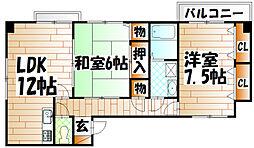 福岡県北九州市八幡西区浅川2丁目の賃貸マンションの間取り
