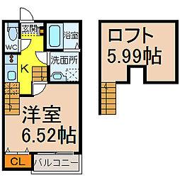 愛知県名古屋市中村区向島町2丁目の賃貸アパートの間取り