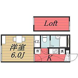 千葉県成田市囲護台の賃貸アパートの間取り