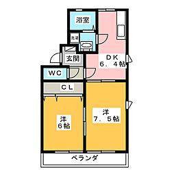 メゾン三ツ谷A・B[2階]の間取り