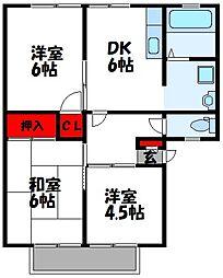 サンビレッジ花鶴[1階]の間取り