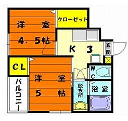 福岡県福岡市東区水谷3丁目の賃貸アパートの間取り