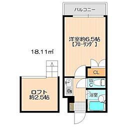 モーリックス飯塚[108号室]の間取り