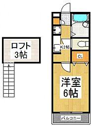 グローリーハイツI[1階]の間取り