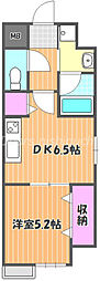 JR宇野線 大元駅 徒歩10分の賃貸マンション 5階1DKの間取り