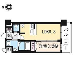 プレサンスTHE KYOTO粋都717 7階1LDKの間取り