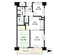 フレスコ川崎(礼0住戸、角部屋、2面採光)[801(キャンセル住戸)号室]の間取り
