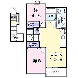 広島県東広島市八本松飯田3丁目の賃貸アパートの間取り