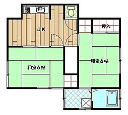 奥山アパートB[201号室]の間取り
