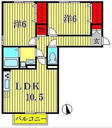 ドリームハイツA・B[2階]の間取り