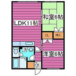 北海道札幌市東区北四十四条東2丁目の賃貸アパートの間取り