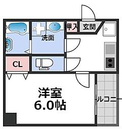 MESSAGE新今里 7階1Kの間取り