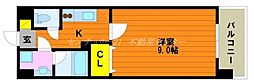 JR山陽本線 岡山駅 徒歩16分の賃貸マンション 2階1Kの間取り