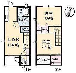 愛媛県松山市山越2丁目の賃貸アパートの間取り