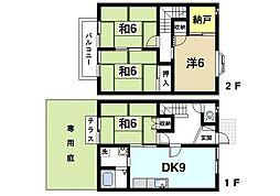 [テラスハウス] 奈良県生駒市さつき台1丁目 の賃貸【/】の間取り