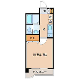 JR仙山線 国見駅 徒歩14分の賃貸マンション 1階1Kの間取り