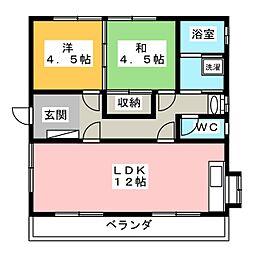 ロイヤルコーポ三ツ合[2階]の間取り