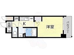 阪急千里線 天神橋筋六丁目駅 徒歩4分の賃貸マンション 3階1Kの間取り